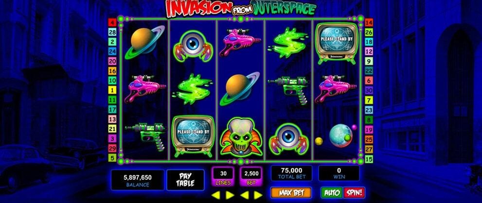 invasion outerspace aliens slot machine game caesars casino