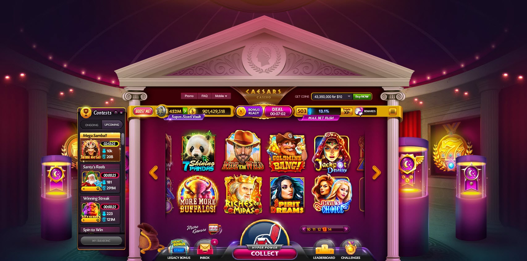 caesars casino main game lobby